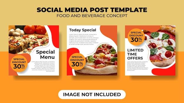 Шаблон сообщения в социальных сетях с концепцией еды и напитков