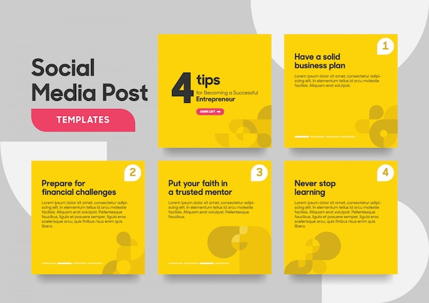 Social media post template with geometric shape