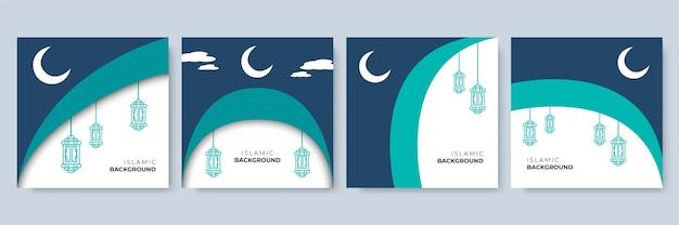 Social media post template with islamic decoration theme. arabesque ramadan sale social media post template banners ad. editable vector illustration
