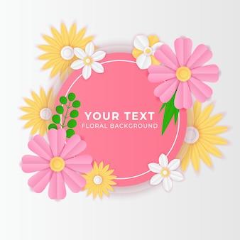 Шаблон сообщения в социальных сетях с вырезанным из бумаги свежим цветочным украшением розового и желтого цвета. современный динамический шаблон сообщения instagram