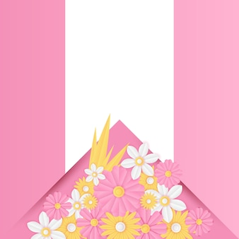 Шаблон сообщения в социальных сетях с вырезанным из бумаги свежим розовым цветочным украшением. современный динамический шаблон сообщения instagram