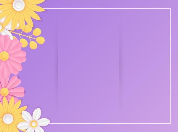 소셜 미디어 포스트 템플릿에는 종이를 자른 신선한 보라색 꽃 장식이 있습니다. 현대 동적 인스 타 그램 게시물 템플릿