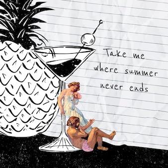 Шаблон сообщения в социальных сетях с винтажными людьми и смешанной техникой с фруктовым соком, переработанный на основе произведений мориса дени