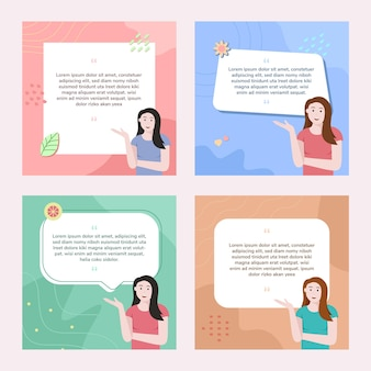 Social media post template with woman illustration