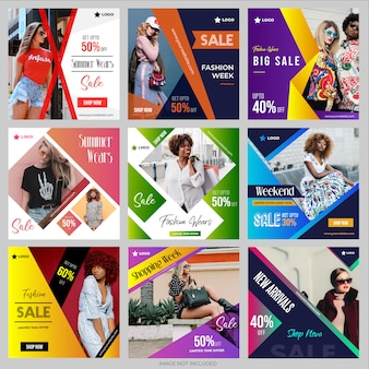 Social media post templates collection for instagram