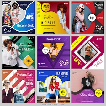 Social media post templates collection