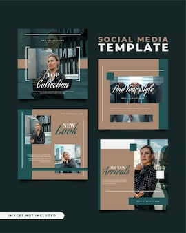 Social media post templates for fashion sale in minimalist concept
