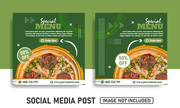 Social media post templates for food promotion
