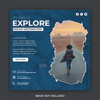 휴가 여행 비즈니스를 위한 소셜 미디어 게시물 템플릿