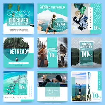 Social media post templates for travel