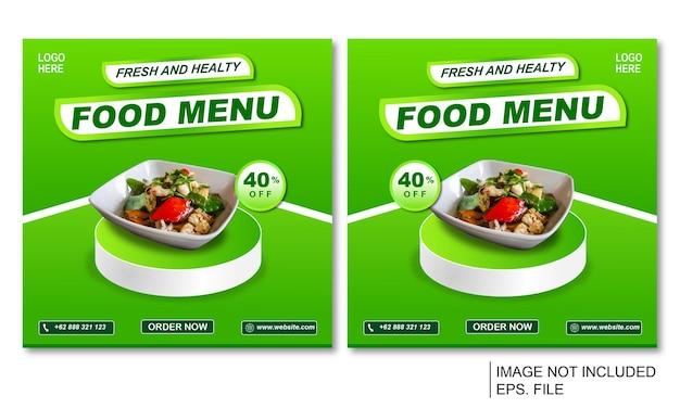ソーシャルメディアは、緑のテンプレートでテーマにした健康食品を投稿します