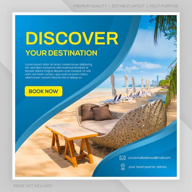 Social media post travel template premium