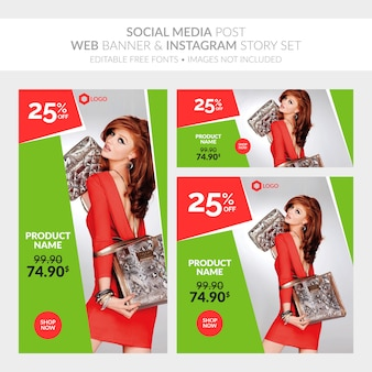Social media post web banner and instagram story set