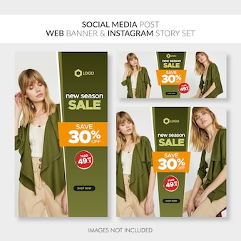 Social media post web banner and instagram story setthe file was successfully tagged