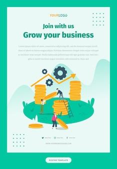 ソーシャルメディアポスターテンプレート統計イラストキャラクターでビジネスを成長させる