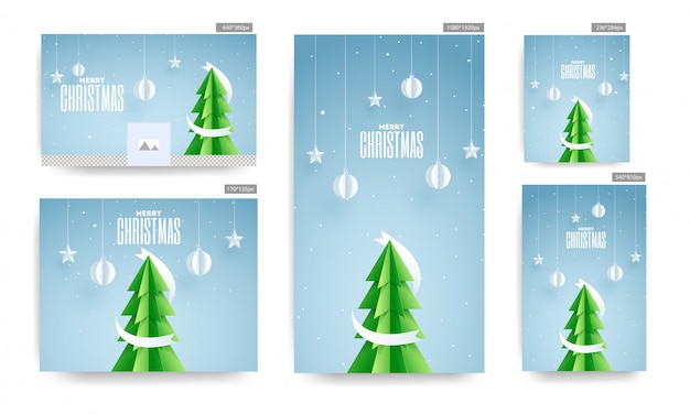 Social media poster and template set with paper cut xmas tree, hanging baubles and stars decorated on blue background for merry christmas celebration.