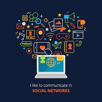 Social media poster with computer and network line abstract icons set