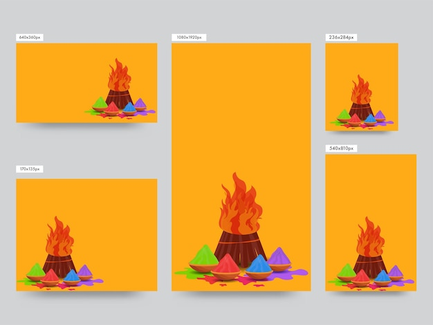 Social media posts collection with powder (gulal) in bowls and bonfire illustration