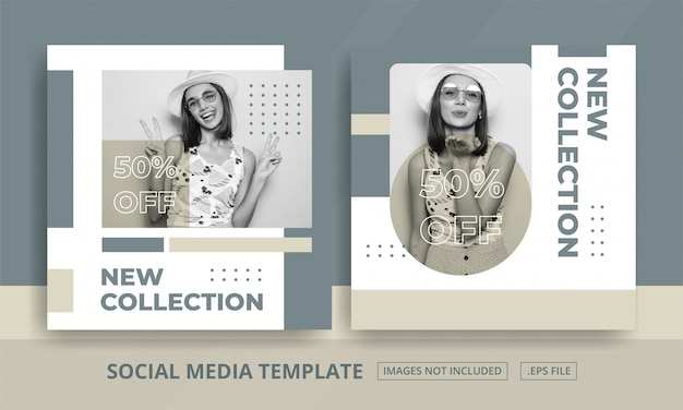 Social media posts template for woman fashion shop