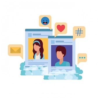 Social media profiles with speech bubble avatar carã¡cter