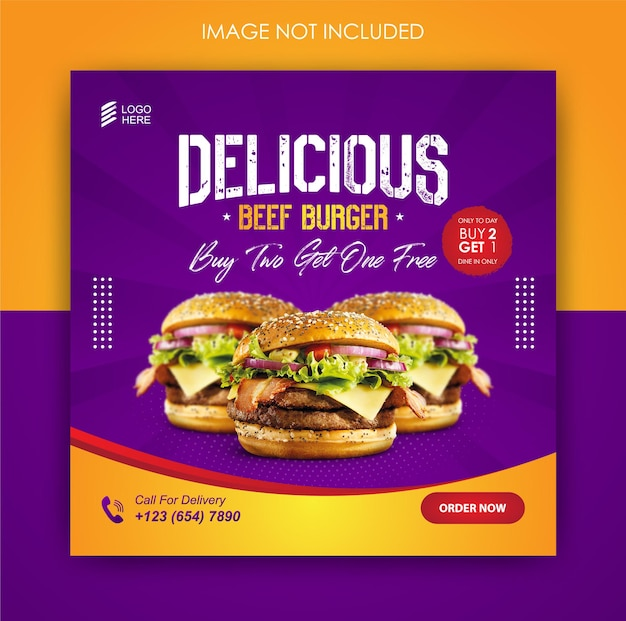 Social media promotion burger food and instagram post design template