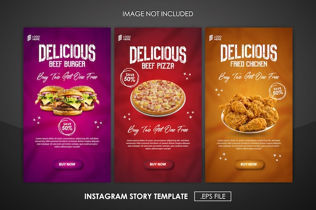 Social media promotion food and instagram story design template