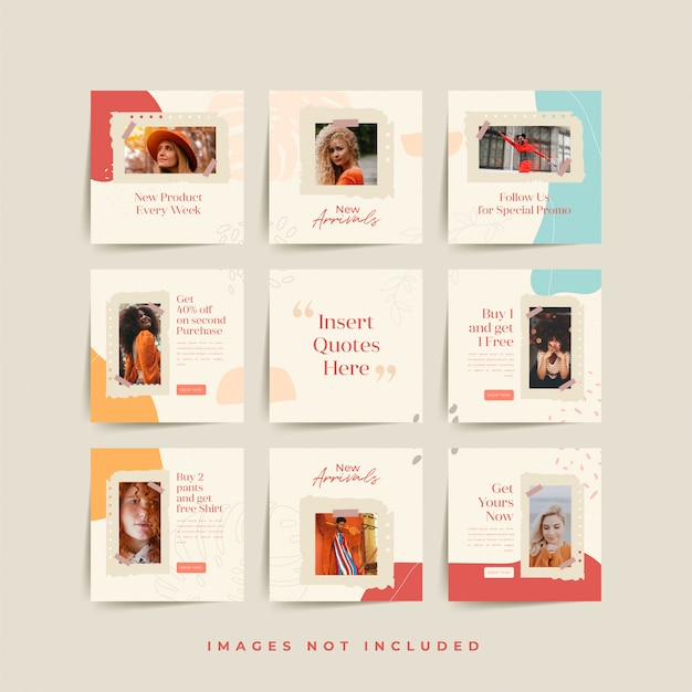 Social media puzzle frame grid post template for fashion sale promotion