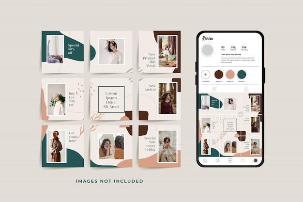 ファッション販売促進のためのソーシャルメディアパズルフレームグリッド投稿テンプレート