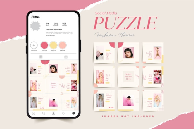 Social media puzzle grid seamless backgrounds for fashion shop special discount promotion