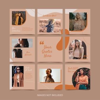 女性のファッションソフトオレンジ色の美学のためのソーシャルメディアパズルテンプレート。