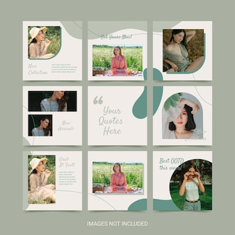 Social media puzzle template for woman fashion green soft color aesthetic.