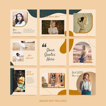 Social media puzzle template for woman fashion green yellow color aesthetic.