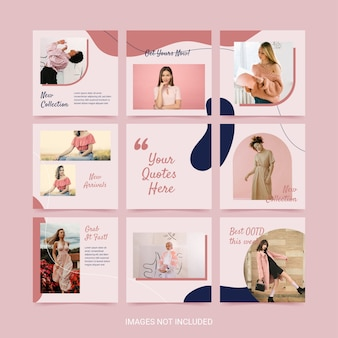 Social media puzzle template for woman fashion pink blue color aesthetic.