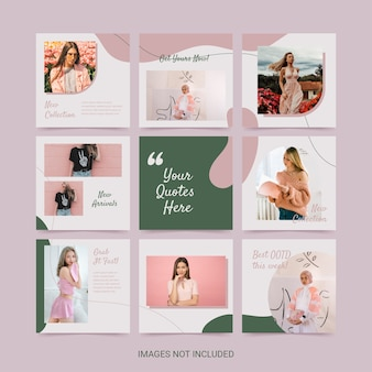 Social media puzzle template for woman fashion pink green soft color aesthetic.