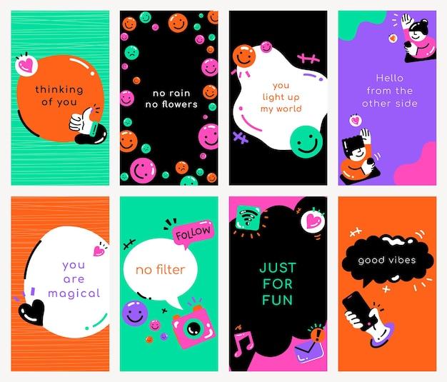 다채로운 스타일의 소셜 미디어 견적 템플릿 벡터