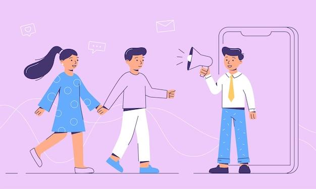 Концепция реферальной программы в социальных сетях. пригласить друзей. векторная иллюстрация в плоском стиле.
