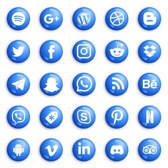 ソーシャルメディアの丸いボタンとアイコンセット。