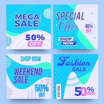Социальные медиа продажа баннеров набор шаблонов дизайна