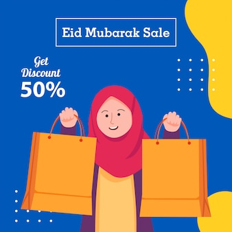 Social media sale for eid mubarak cartoon