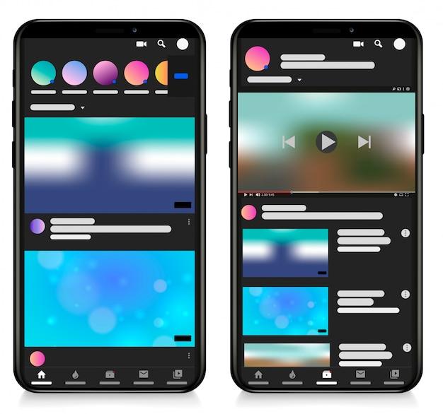 Мобильный видеоплеер шаблона экрана социальных сетей. телефон видеоплеер, приложение, пользовательский интерфейс. ведение блога. канал. концепция социальных сетей. иллюстрации.