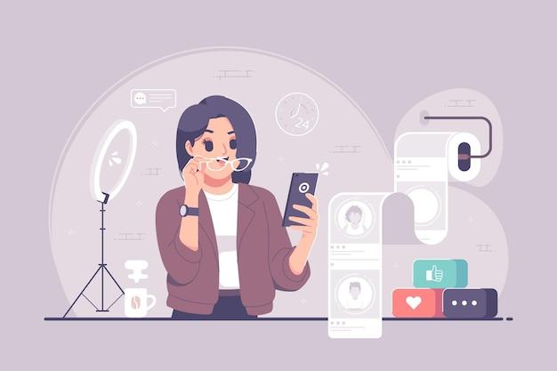 Social media scrolling flat design illustration
