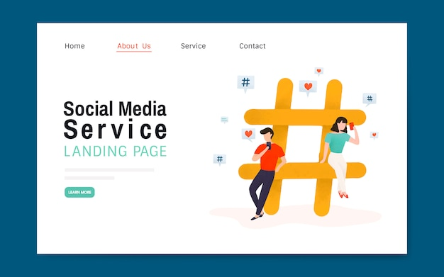 Social media service landing page layout vector