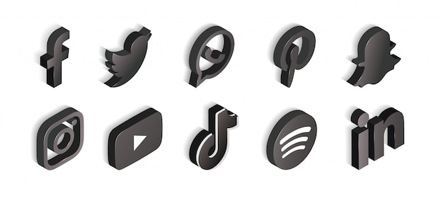 Social media set of black and white icons isometric