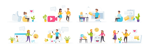 Social media set with people characters in various scenes and situations.