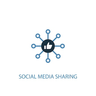 Social media sharing concept 2 colored icon. simple blue element illustration. social media sharing concept symbol design. can be used for web and mobile ui/ux