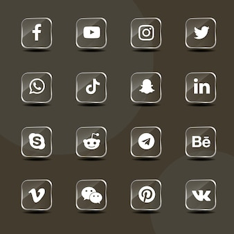 Social media silver glass icons collection pack