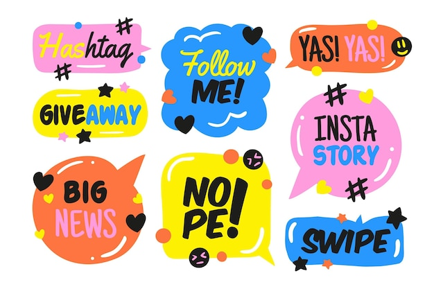 Social media slang bubble set concept