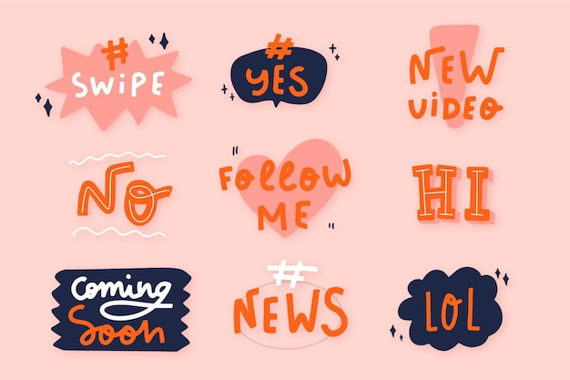 Social media slang bubbles collection