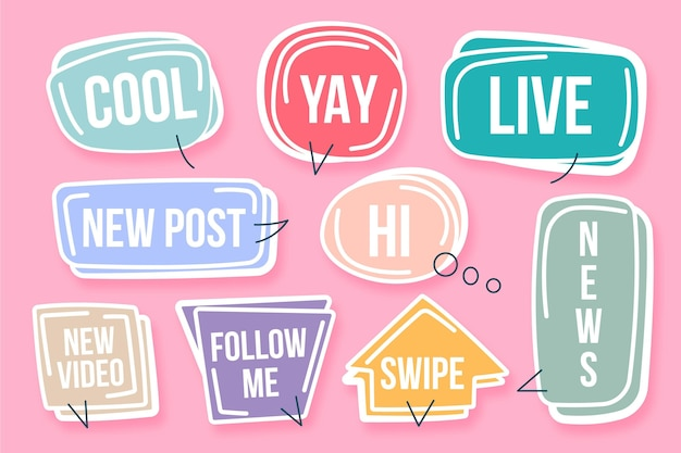 Social media slang bubbles concept