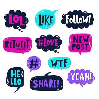 Набор пузырьков сленга в социальных сетях